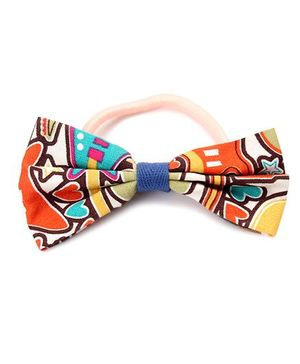 Clip Case Printed Bow Rubber Band - Multicolour