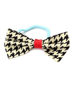 Clip Case Printed Bow Rubber Band - Black & Cream