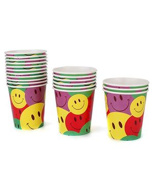 Karmallys Paper Cups Pack of 20 Smiley Face Print - Multi Color