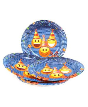 Karmallys Paper Plates Smiley Print Pack of 10 - Blue
