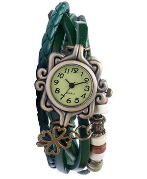 Angel Glitter Hipster Wrist Watch Flower Bead - Green