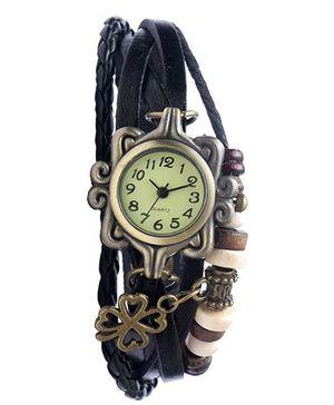 Angel Glitter Hipster Wrist Watch Flower Bead - Black