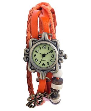 Angel Glitter Hipster Wrist Watch Flower Bead - Orange