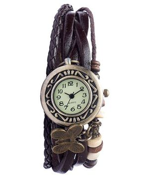 Angel Glitter Hipster Wrist Watch Butterfly Bead - Brown