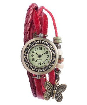 Angel Glitter Hipster Wrist Watch Butterfly Bead - Pink