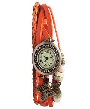 Angel Glitter Hipster Wrist Watch Butterfly Bead - Orange