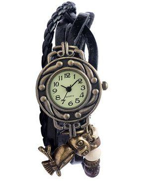 Angel Glitter Hipster Wrist Watch Owl Bead - Black