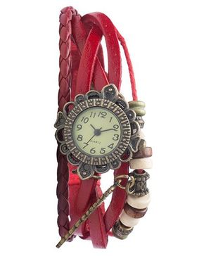 Angel Glitter Hipster Wrist Watch Wing Bead - Red