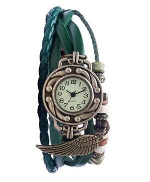 Angel Glitter Hipster Wrist Watch Wing Bead - Green