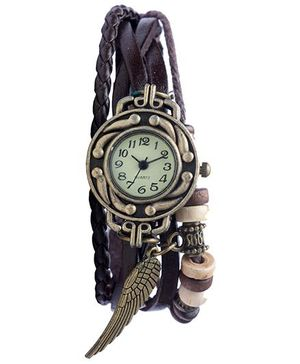 Angel Glitter Hipster Wrist Watch Wing Bead - Brown