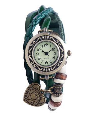 Angel Glitter Hipster Wrist Watch Heart Bead - Green