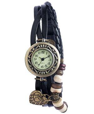 Angel Glitter Hipster Wrist Watch Heart Bead - Black