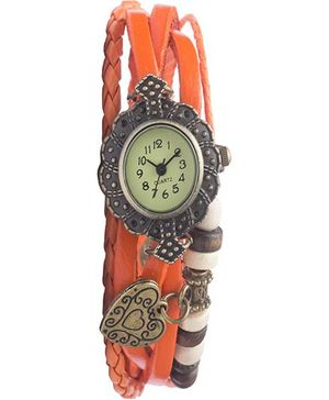Angel Glitter Hipster Wrist Watch Heart Bead - Orange