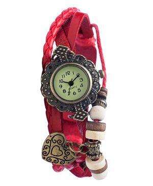 Angel Glitter Hipster Wrist Watch Heart Bead - Pink