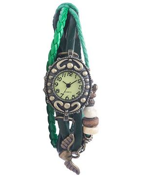 Angel Glitter Hipster Wrist Watch Heart with Wings Bead - Green