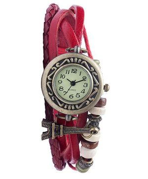 Angel Glitter Hipster Wrist Watch Eiffel Tower Bead - Pink