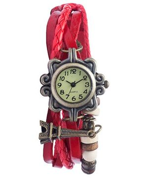 Angel Glitter Hipster Wrist Watch Eiffel Tower Bead - Red