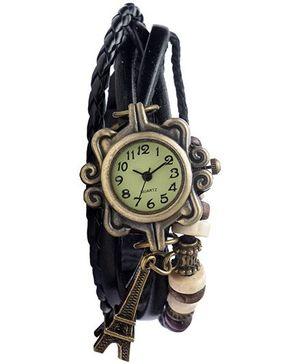 Angel Glitter Hipster Wrist Watch Eiffel Tower Bead - Black