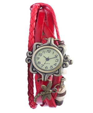 Angel Glitter Hipster Wrist Watch Dragonfly Bead - Red
