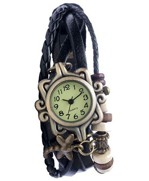 Angel Glitter Hipster Wrist Watch Dragonfly Bead - Black