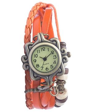 Angel Glitter Hipster Wrist Watch Dragonfly Bead - Orange