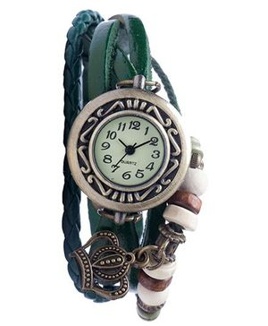 Angel Glitter Hipster Wrist Watch Crown Bead - Green