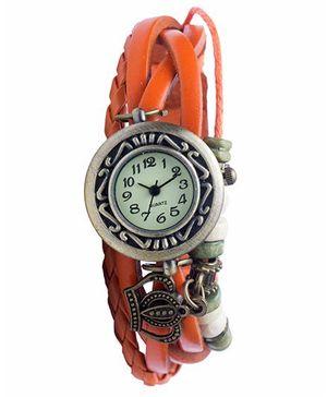 Angel Glitter Hipster Wrist Watch Crown Bead - Orange