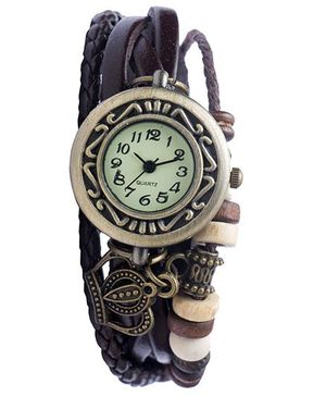 Angel Glitter Hipster Wrist Watch Crown Bead - Brown