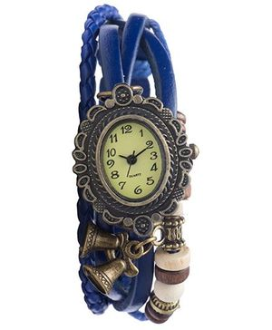 Angel Glitter Hipster Wrist Watch Leaf Bead - Blue