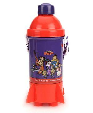 Chhota Bheem Rocket Base Water Bottle - Purple & Red