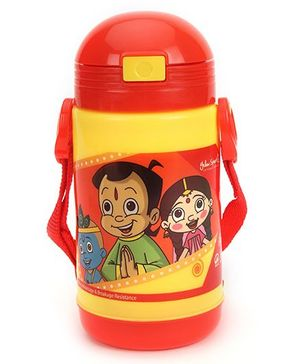 Chhota Bheem New Insulated Water Bottle - Red & Yellow