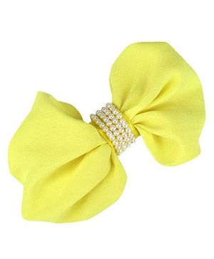 D'chica Pretty Bow Barettes With Pearls Clip For Girls - Yellow