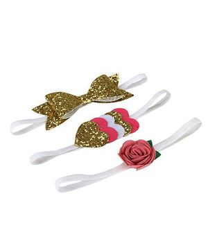 D'chica Set Of 3 Felt Headbands For Little Girl - Golden & Pink