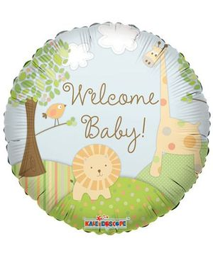 Party In A Box Kaleidoscope Welcome Baby Balloon Jungle Print - Multicolor