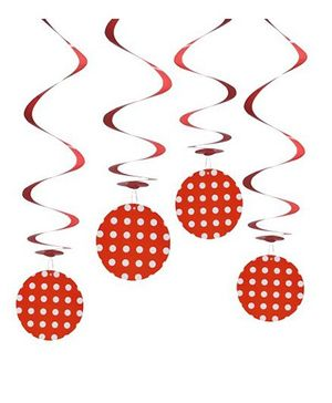 Party In A Box Polka Swirl Decorations  - Red