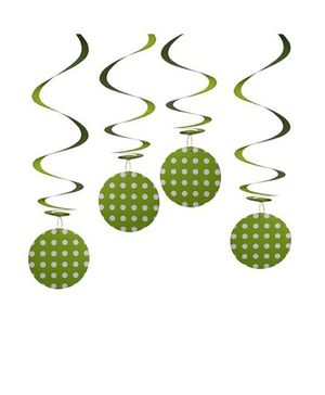 Party In A Box Polka Swirl Decorations Paper Balloon - Green