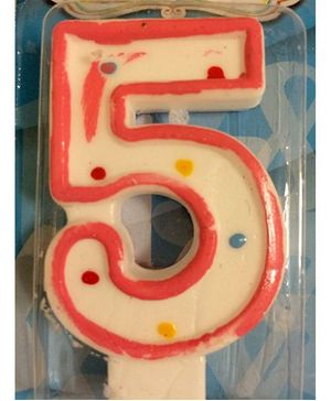 Funcart Number 5 Dotted Candle - Pink