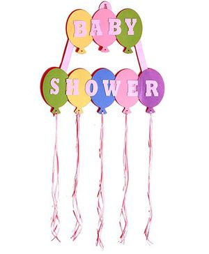 Funcart Baby Shower Ballons Cutting Felt Banner With Ribbons
