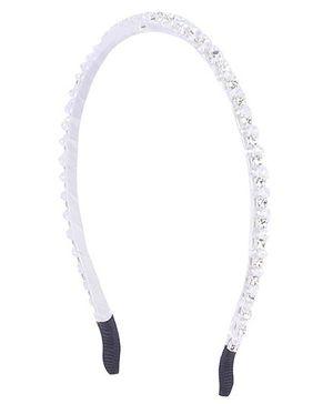 Cutecumber Party Wear Studded Hair Band - Silver