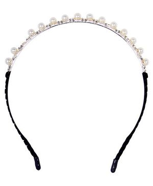Cutecumber Party Wear Hair Band Black - Pearl Embellishment