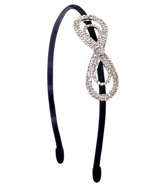 Cutecumber Party Wear Hair Band Stone Design - Black