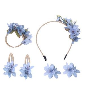 Cutecumber Set of Accessories Floral Embellishment - Blue