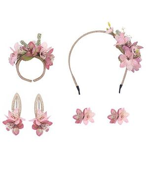 Cutecumber Set of Accessories Floral Embellishment - Peach