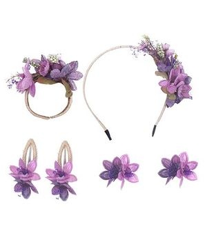 Cutecumber Set of Accessories Floral Embellishment - Purple