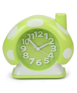 House Shape Analog Alarm Clock Polka Dots - Green