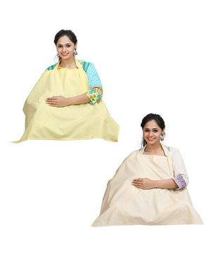 Lulamom Nursing Cover Pack of 2 - Beige And Yellow