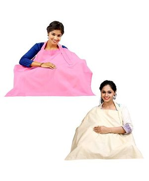 Lulamom Nursing Cover Pack of 2 - Beige And Pink