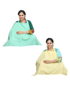 Lulamom Nursing Cover Yellow Sea Green - Pack of 2