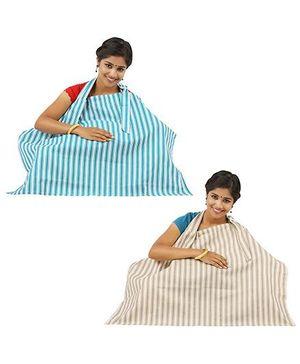 Lulamom Stripe Nursing Cover Beige Sea Green - Pack of 2