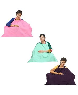 Lulamom Nursing Cover Pack of 3 - Pink Aubergine Green